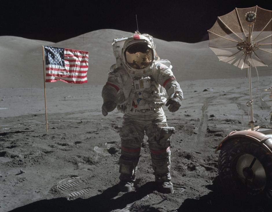 Eugene Cernan, comandante del Apolo 17 en la superficie de la luna, en diciembre de 1972. (Foto: Nasa)
