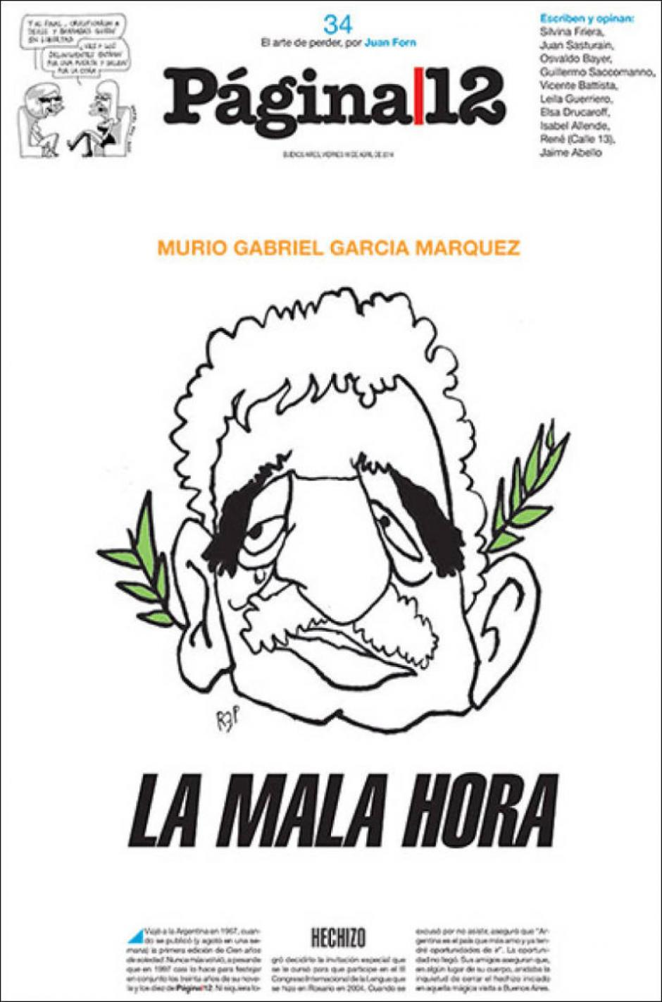 Los argentinos usaron también una caricatura del mítico escritor. (Foto: Clases de Periodismo)