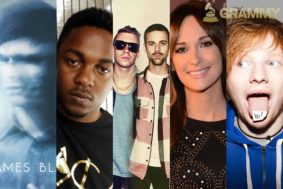 Y los nominados a mejor artista nuevo son:James Blake,Kendrick Lamar,Macklemore & Ryan Lewis,Kasey Musgraves yEd Sheeran.