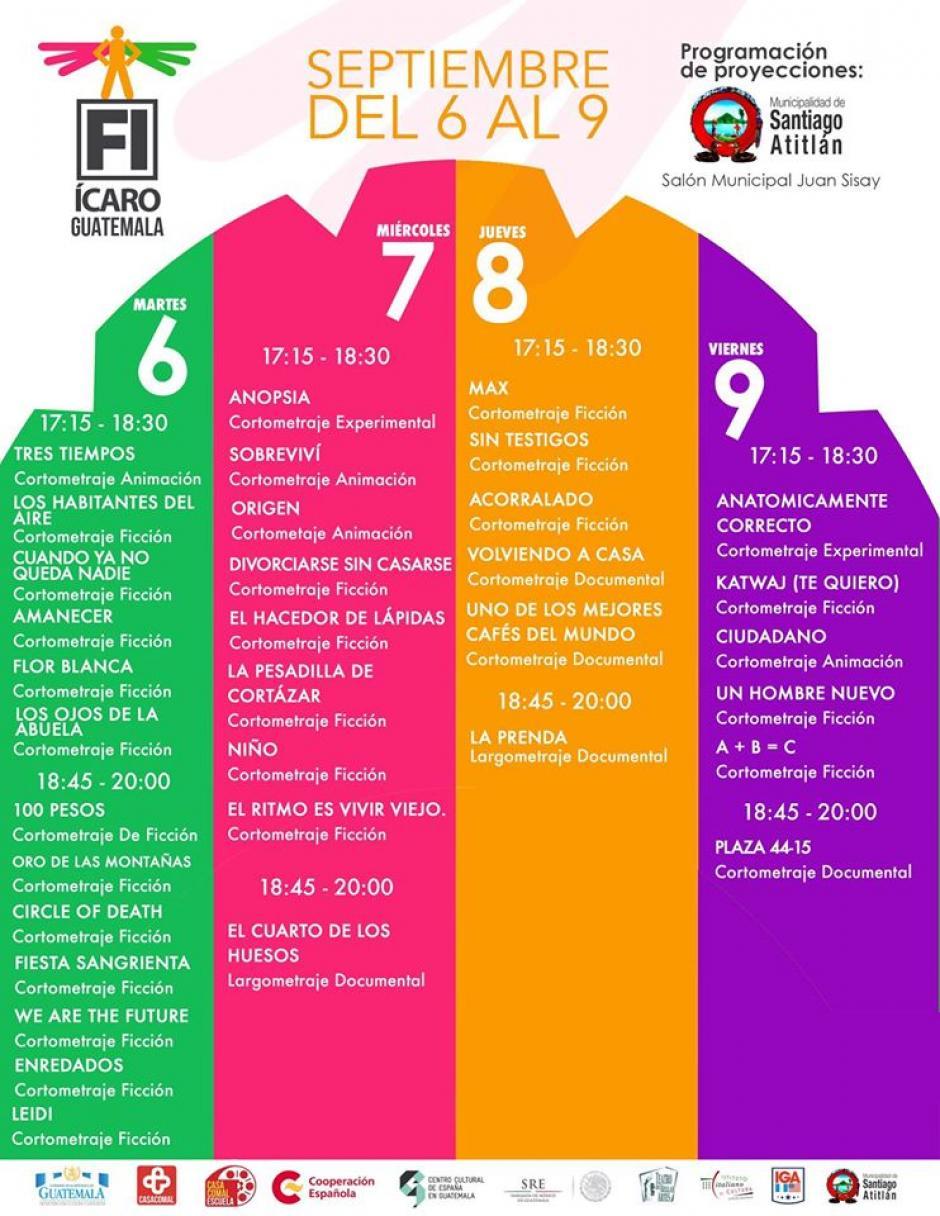Esta es la programación en Atitlán. (Foto: Festival Ícaro)