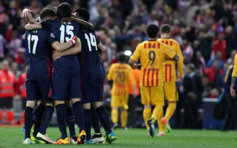 Festejo histórico, el Atlético de Madrid eliminó a Barcelona de la Champions League. (Foto: EFE)