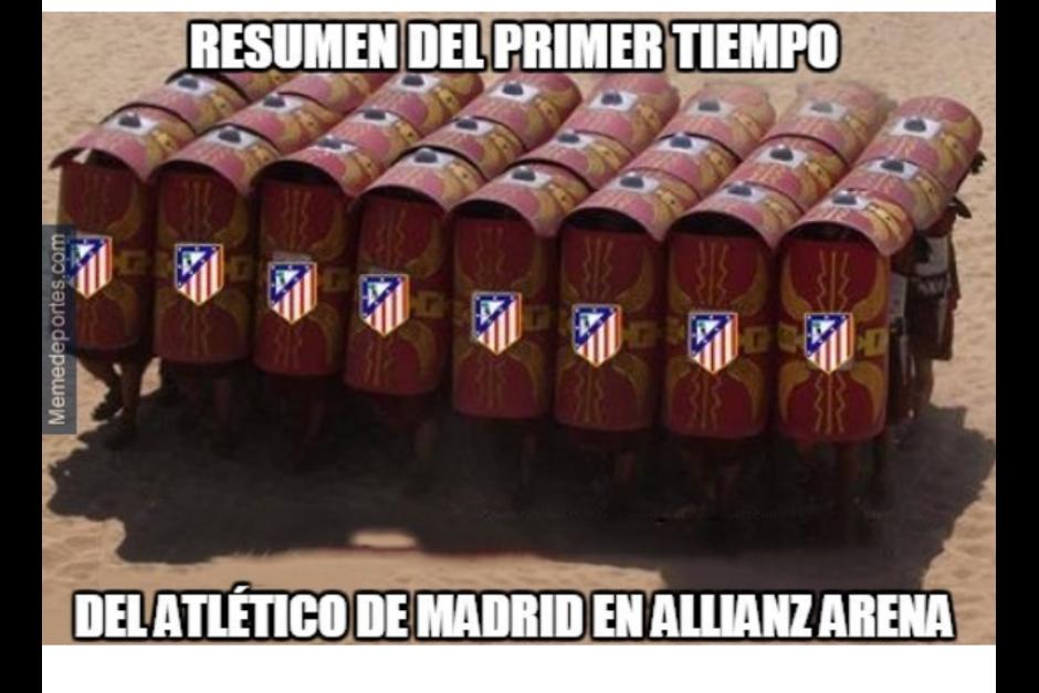 La defensa del Atlético fue vital para mantener el resultado. (Foto: MemeDeportes)