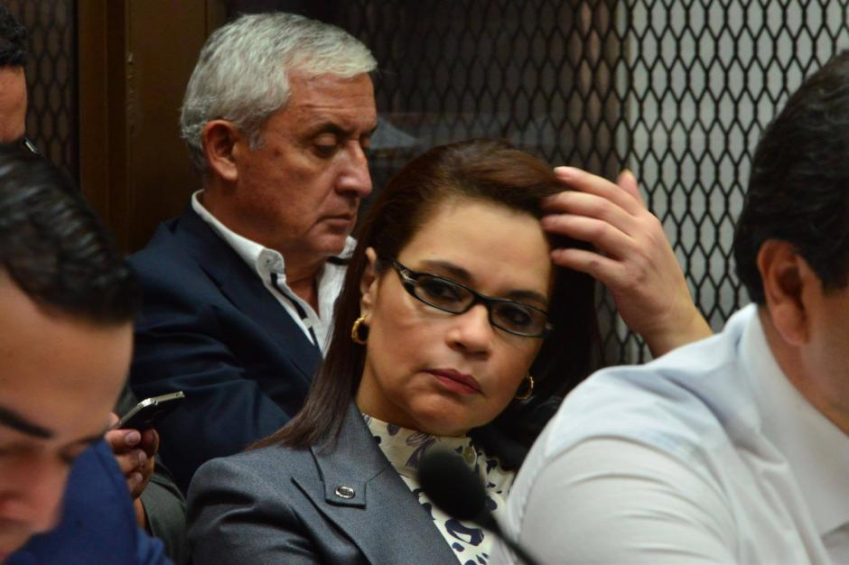 Los exmandatarios Pérez Molina y Baldetti durante la continuación de la audiencia de primera declaración por el caso TCQ. (Foto: Jesús Alfonso/Soy502)