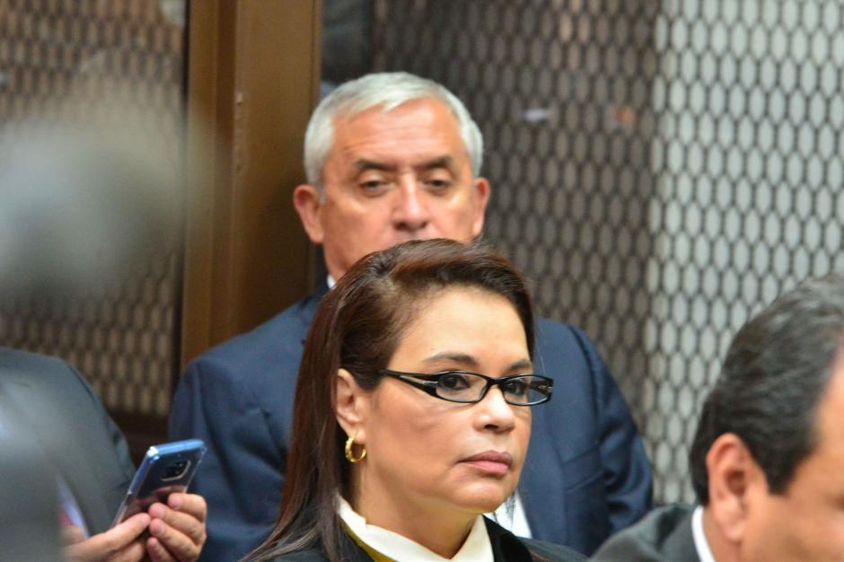 Para la anterior audiencia del Caso La Línea, se vieron, pero no pudieron hablar. (Foto: Jesús Alfonso/Soy502)