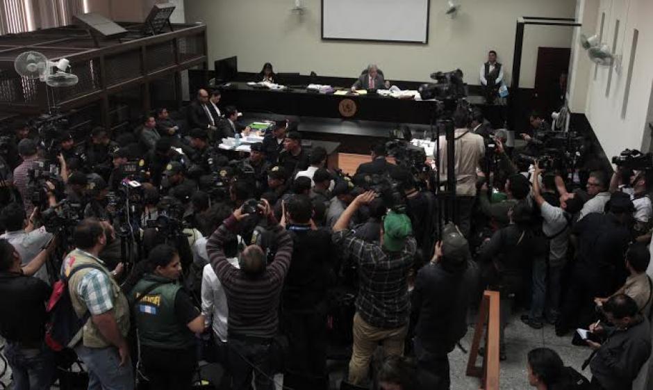 La sala de audiencias donde se desarrolla la primera declaración del caso conocido como La Línea donde se vincula a Baldetti. (Foto: EFE)