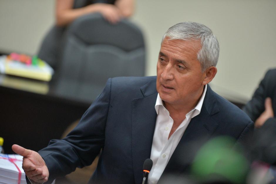 El expresidente Otto Pérez Molina en la sala de audiencias por el caso TCQ. (Foto: Wilder López/Soy502)