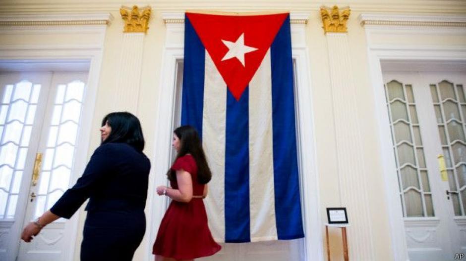 Pero la embajada cerró en 1961, cuando Cuba y EE.UU. rompieron relaciones. Esta es la bandera que ondeaba entonces. (Foto: BBC)