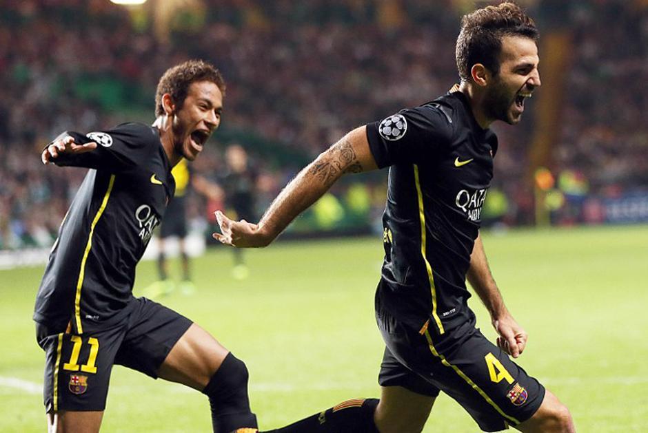 Cesc Fábregas festejó a lo grande el gol del triunfo del Barcelona. (AFP)