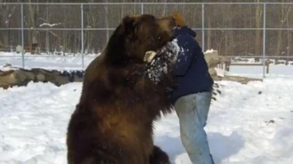 Un cuidador y su oso protagonizan un video conmovedor en redes sociales