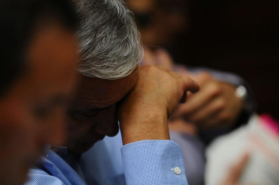 El expresidente Otto Pérez Molina durante la jornada 11 de la audiencia de primera declaración. (Foto: Alejandro Balan/Soy502)
