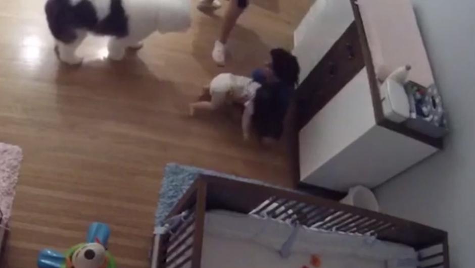 Hasta que aparece su hermano de 9 años y evita que impacte contra el suelo. (Imagen: captura de pantalla)