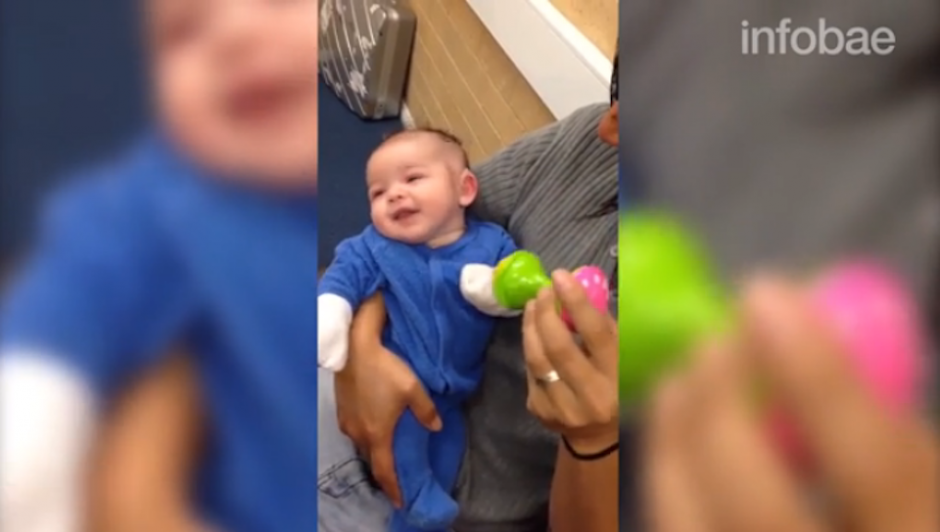 Su alegría se notó en cada segundo del video difundido por sus padres. (Foto: Infobae)