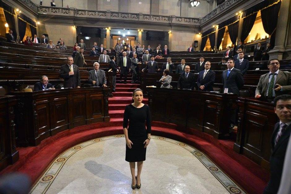 Al llegar al Hemiciclo, sola espera el momento para ser juramentada. (Foto: Wilder López/Soy502)