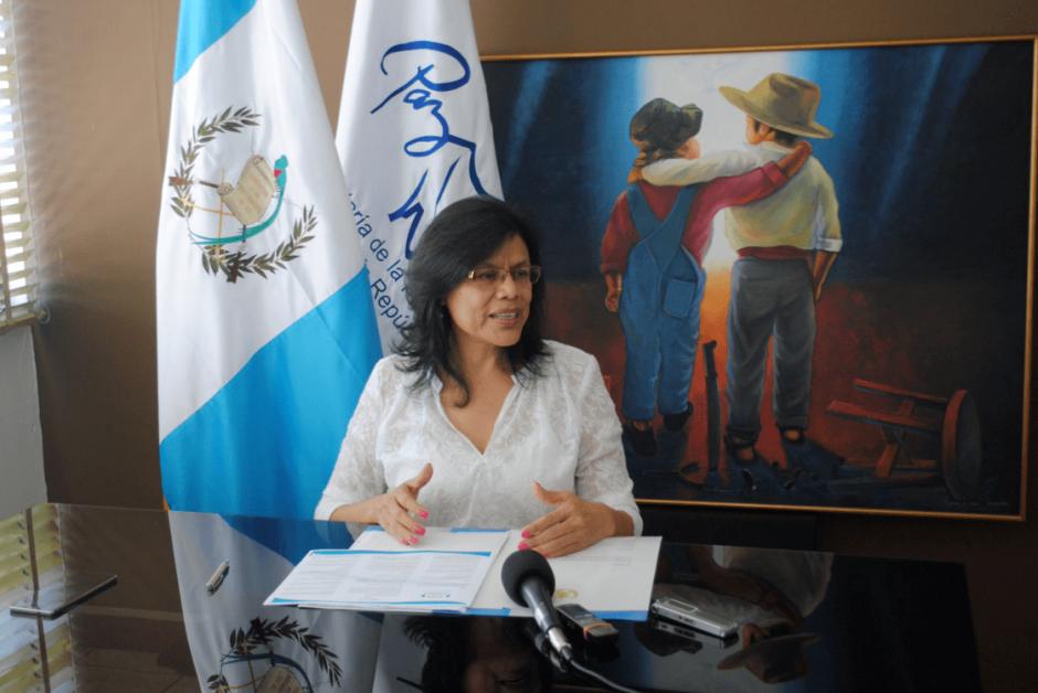 La jefa de la Sepaz tuvo una mejora salarial de 19 mil quetzales respecto a su antecesora. (Foto: Sepaz)