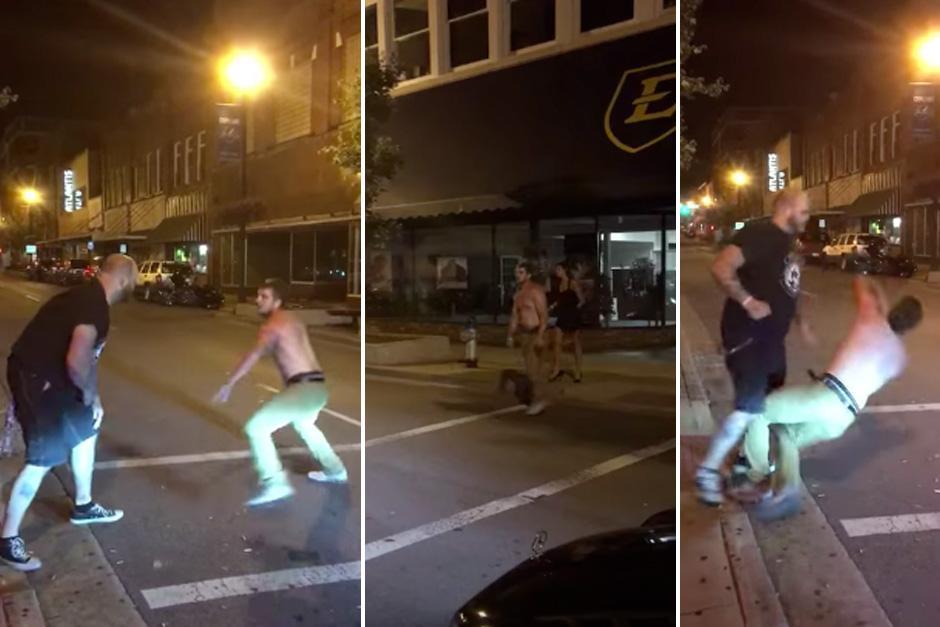Un borracho fue noqueado luego que inició una pelea en plena vía pública