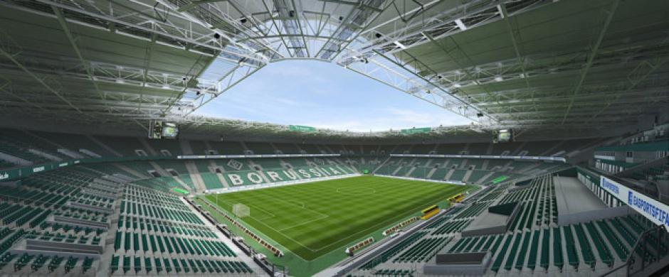El estadio Borussia Park (Borussia Mönchengladbach, Bundesliga). (Imagen: Electronics Arts)