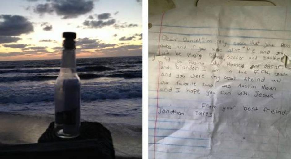 La carta fue colocada en una botella y encontrada en una playa de Estados Unidos.  (Foto: Steve Gershon/Facebook)