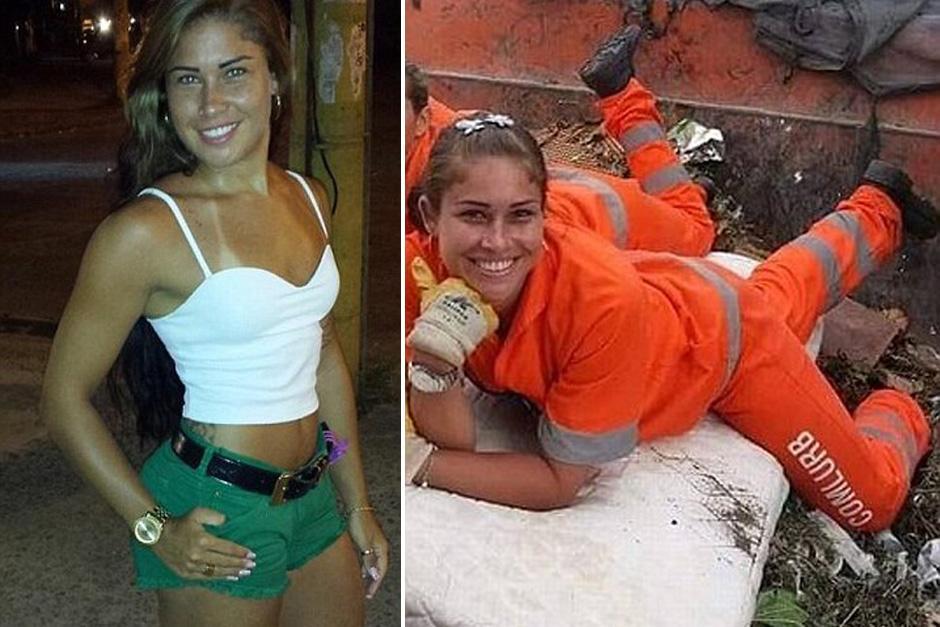 Rita Mattos tiene 23 años y vive en Río de Janeiro, Brasil, donde trabaja como recolectora de basura y también como modelo. (Foto: dailymail.co.uk)