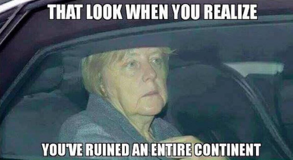 """Merkel también fue protagonista en los """"memes"""". (Imagen: sopitas.com)"""