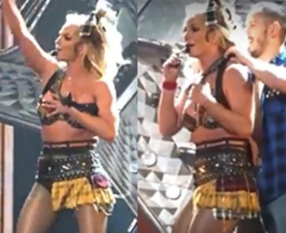 Afortunadamente sus bailarines la ayudaron a tiempo. (Imagen: captura de YouTube)