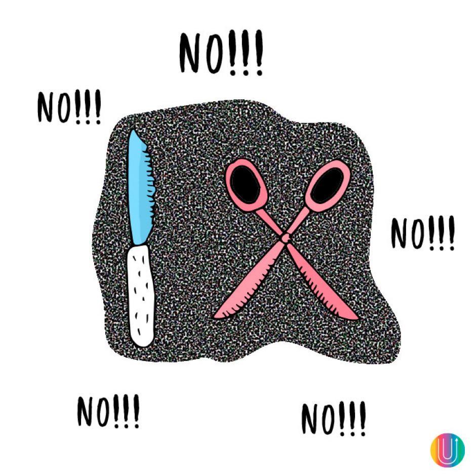 No uses cosas cortantes. (Diseño: Macarena Salinas/UPSOCL)