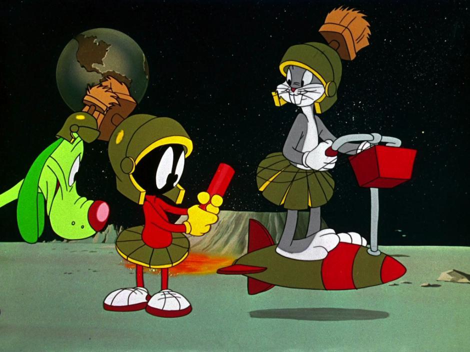 Bugs Bunny también ha hecho sus apareciones en otros planetas. Así quedó demostrado en el capítulo en el que se encuentra con Marvin, El Marciano.