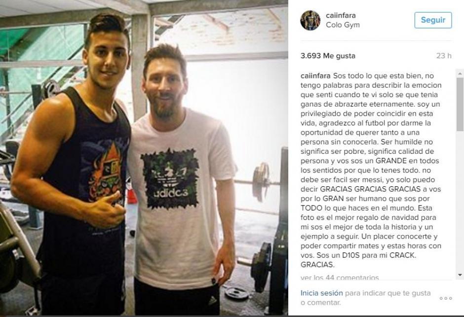 Caiin Fara alucina al coincidir con Messi en el gimnasio en Rosario. (Foto: Twitter)