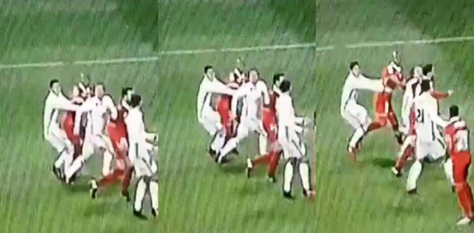 Esta sería la secuencia del empujón de James a Modric que el árbitro marcó como penal. (Foto: Twitter)