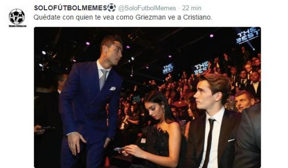 Antoine Griezmann no puede con CR7. (Foto: Twitter)