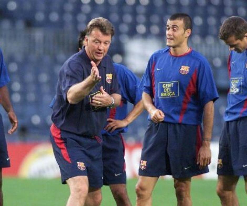 Luis Enrique fue pupilo de van Gaal en el Barcelona. (Foto: Twitter)