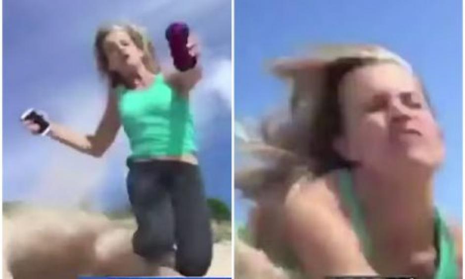 Aparatosa caída de reportera en vivo foto