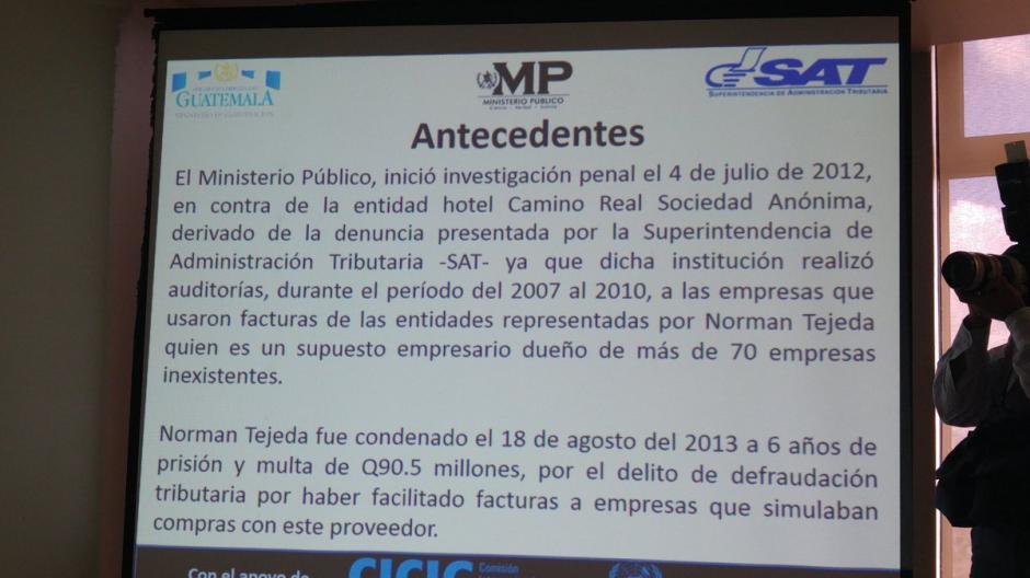 El MP presentó algunos antecedentes sobre el caso del Hotel Camino Real. (Foto: @MPguatemala)