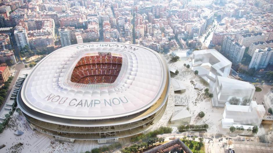 Vista aérea nocturna del Nuevo Camp Nou. (Foto: Twitter FC Barcelona)