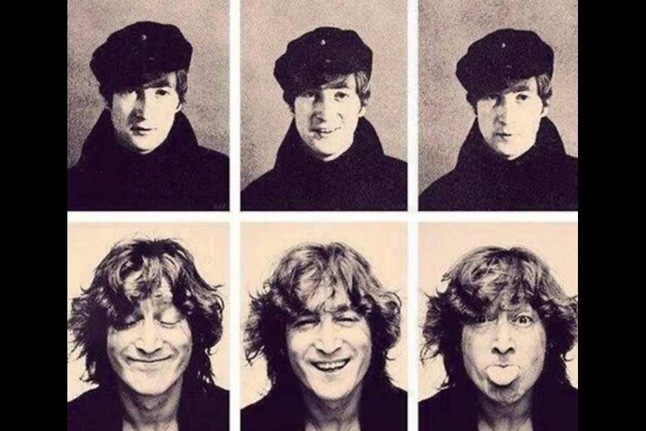 La imagen del recuerdo de John Lennon, las primeras tres mientras cantaba con The Beatles y las de abajo cuando se consolidó como solista.