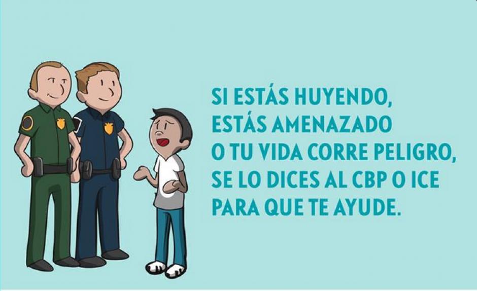 Las imágenes también ofrecen consejos de a quién acudir al momento de que un migrante sea amenzado por algún delincuente. (Imagen Minex)