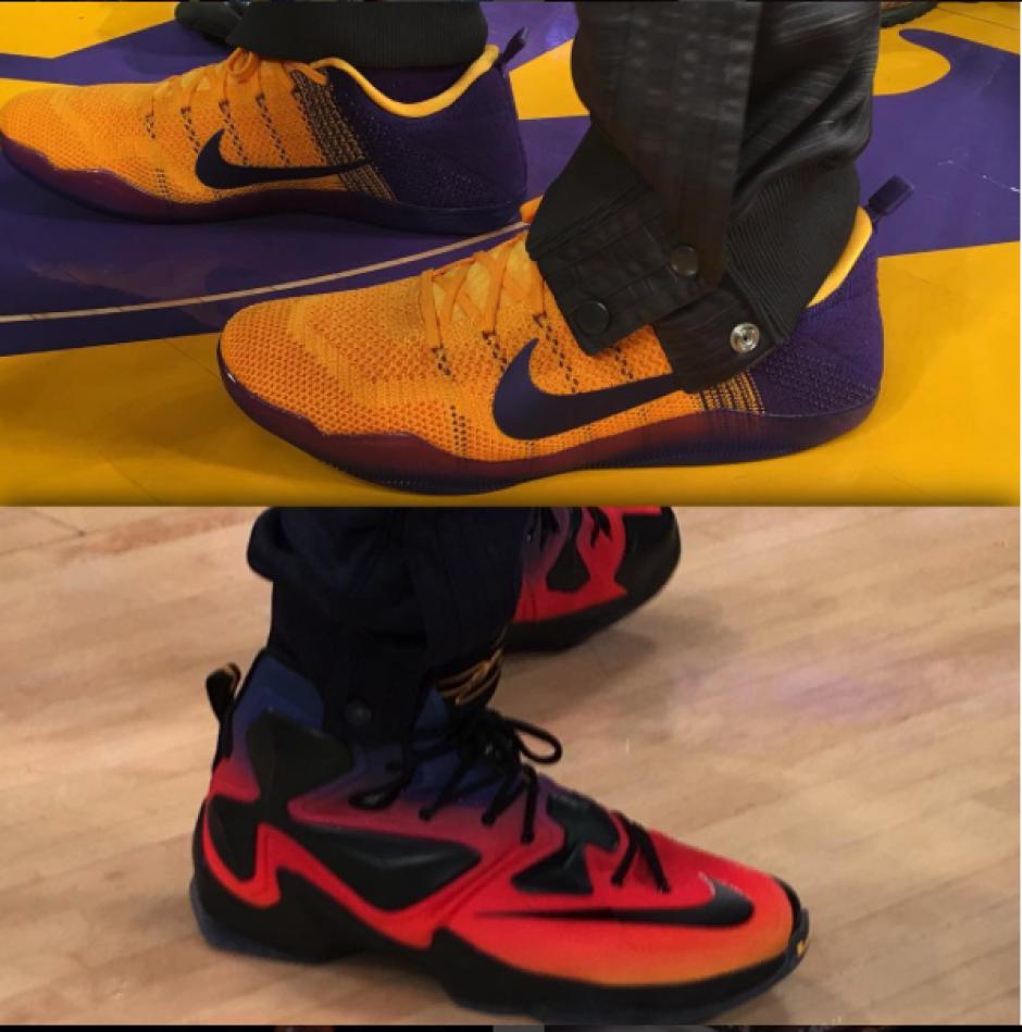 Este calzado utilizó Kobe Bryant y LeBron James, en su último duelo histórico. (Foto: Instagram NBA)