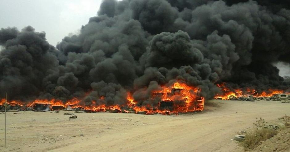 Reportan incendio en los aledaños del basurero de Villa Nueva. (Foto: Gerson Gudiel/Twitter)