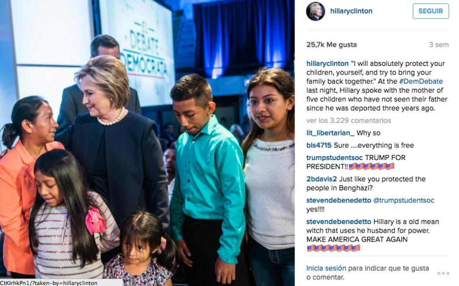 Hillary Clinton saludó a Lucía y a sus hijos al final de un debate demócrata. (Foto: Twitter)