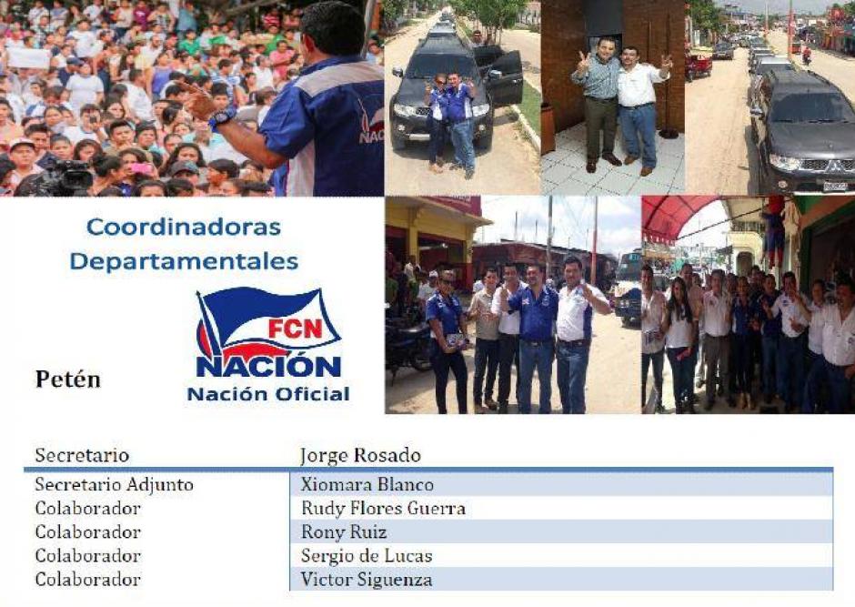 En su perfil también aparece como secretario del partido junto a Xiomara Blanco quien ahora es gobernadora de Petén. (Foto: Facebook)