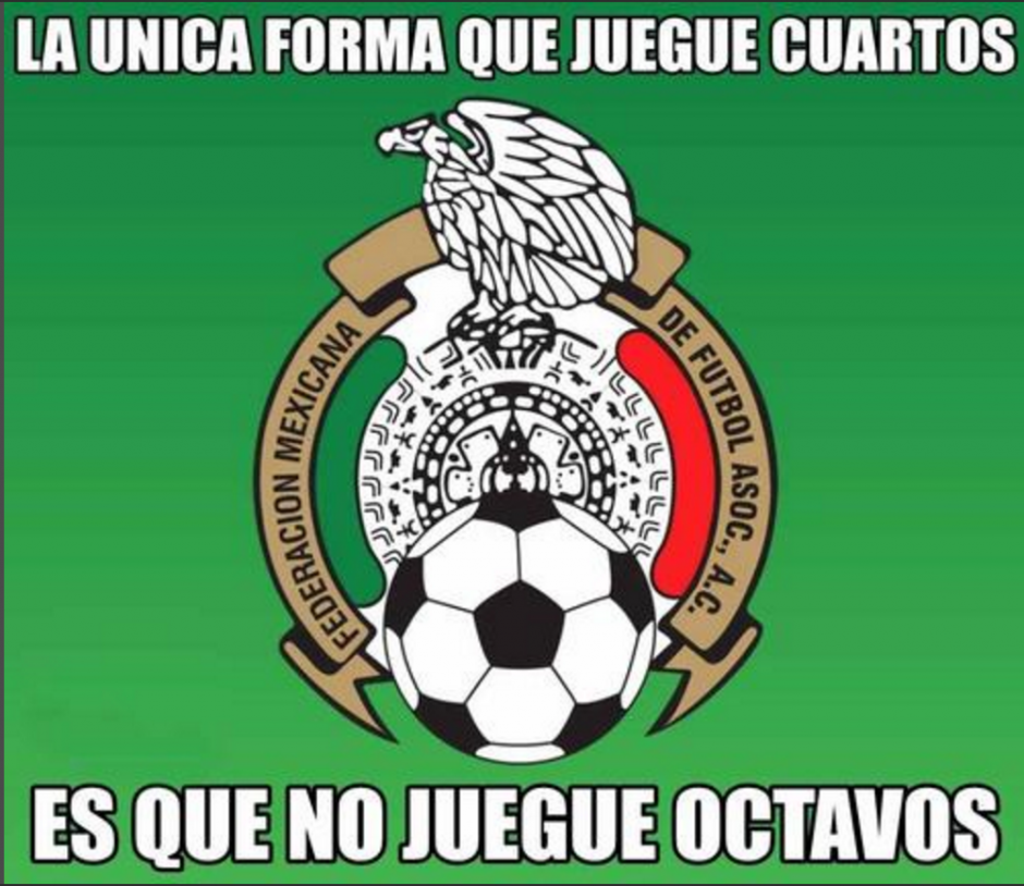 """México y su pase a cuartos de final también fue recordado con """"burla"""" ya que en el Mundial nunca han pasado a cuartos. (Foto: Twitter)"""