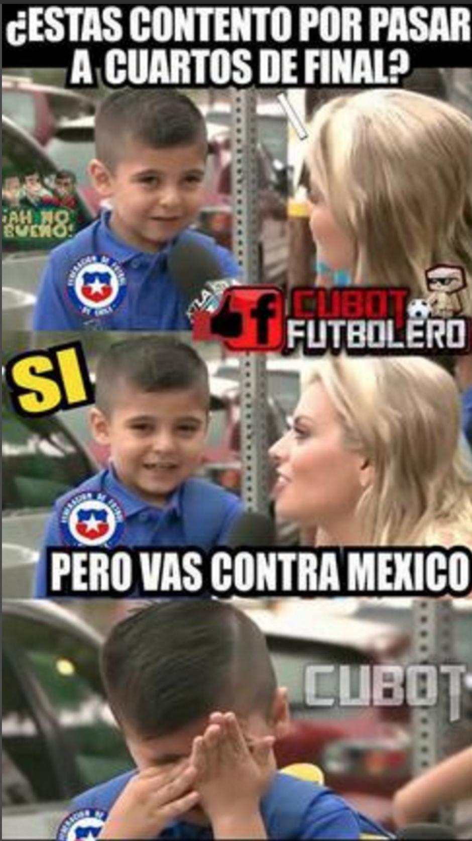 Las bromas también eran dirigidas a Chile, ya que enfrentarán a México en cuartos de final. (Foto: Twitter)