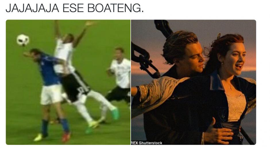 La mano de Boateng y la parodia con la película Titanic. (Foto: Twitter)