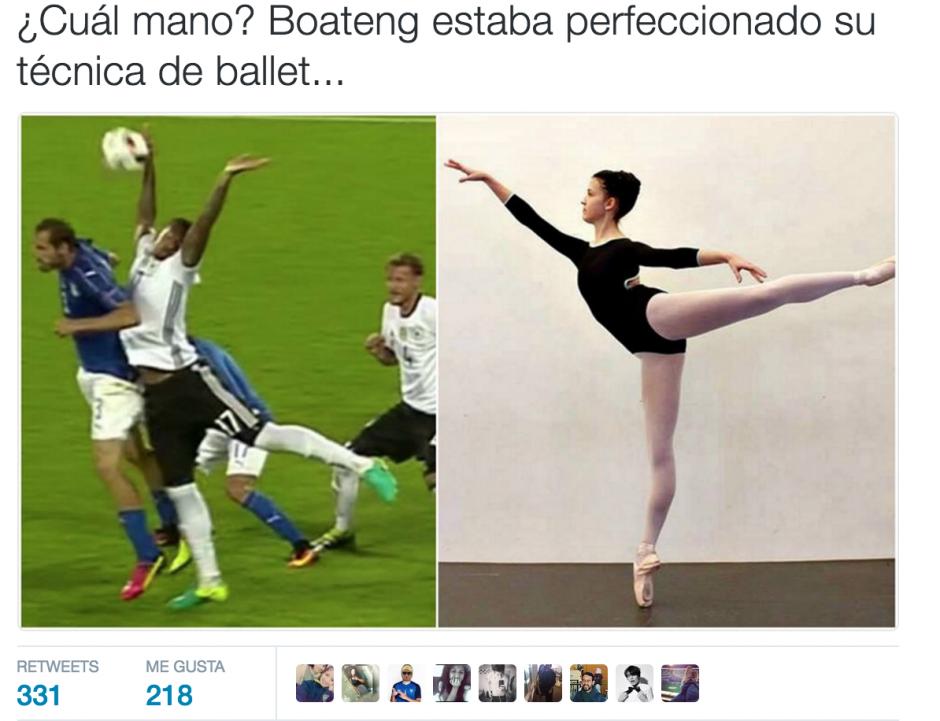 El movimiento en el aire de Boateng llamó la atención de los memes. (Foto: Twitter)