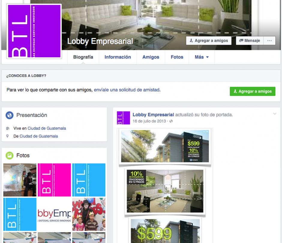 La empresa se dedica a inmuebles y actividades de animación, según Facebook. (Foto: Lobby Empresarial)
