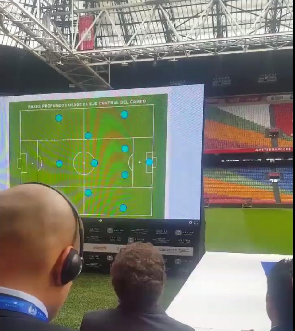En pantalla grande se mostraron sus ideas sobre fútbol. (Foto: Captura de pantalla)