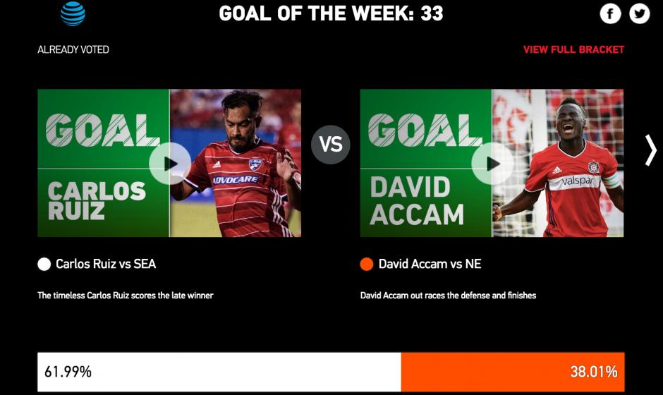 """El """"Fish"""" compite por mejor gol de la semana con David Accam. (Foto: captura de pantalla)"""