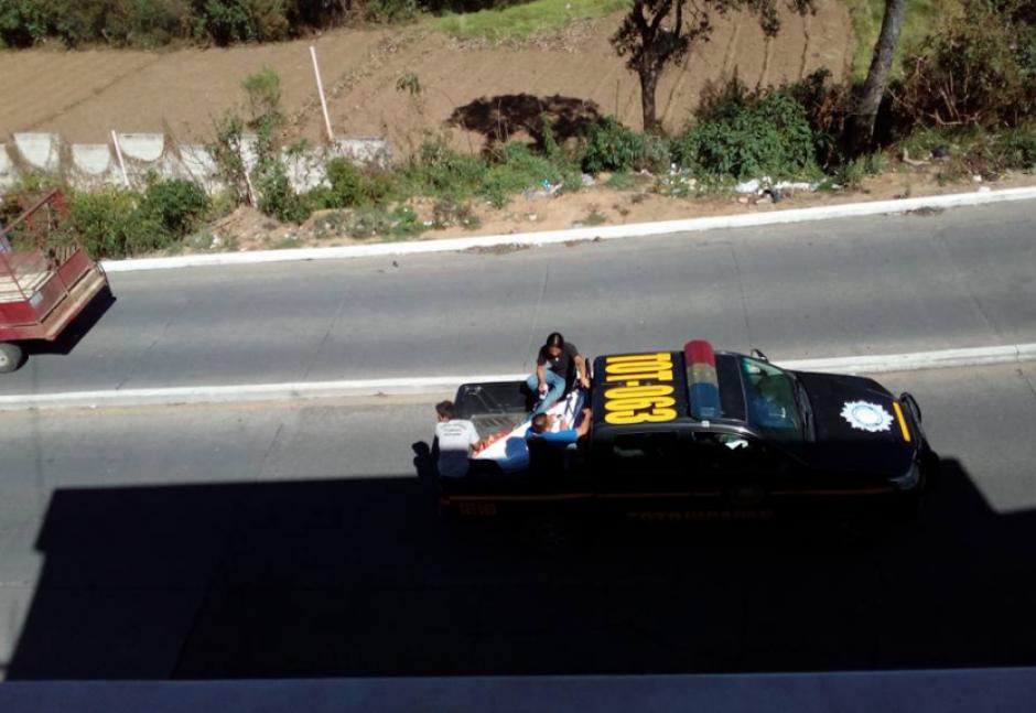 La autopatrulla tiene matrícula de Totonicapán. (Foto: Twitter)