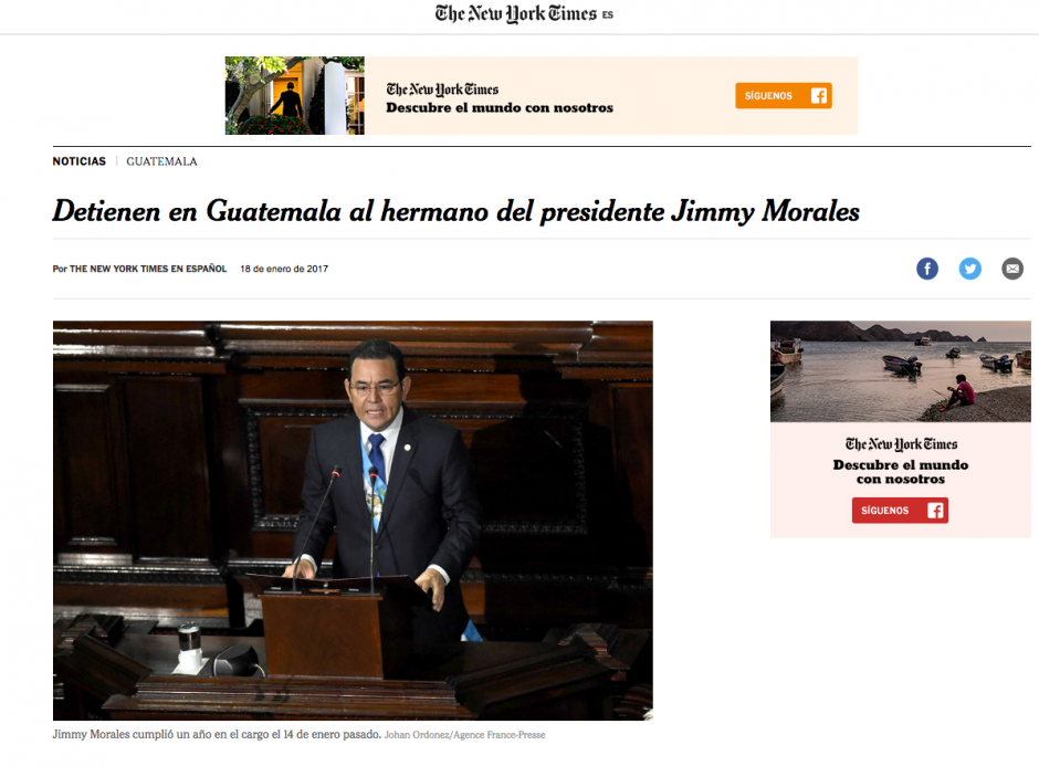 The New York Times en español destacó la captura de Sammy. (Foto: The New York Times)