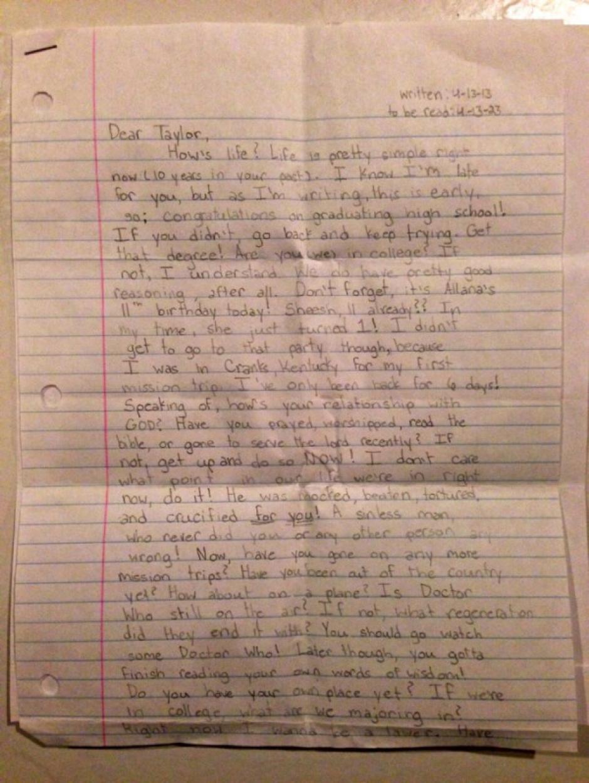 La carta fue escrita por la menor para ella misma en el futuro. (Foto: TKM)