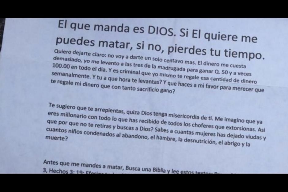Esta es la carta que tenía el piloto asesinado este jueves. (Foto: Archivo/Soy502)
